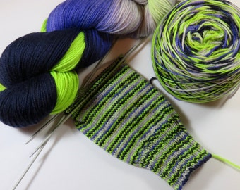 Hand Painted Superwash Merino and Nylon 2-Ply Sock Fingering Yarn -- Fisty Shouty!