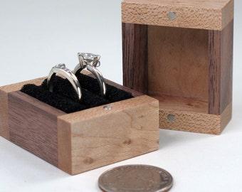 Two Ring Box, Birds Eye Maple Wood, Walnut Wood
