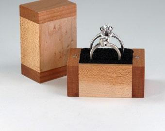Proposal Ring Box, Wedding Ring or Ring Bearer Box, Keepsake Box, Birdseye Maple and Cherry Hardwoods