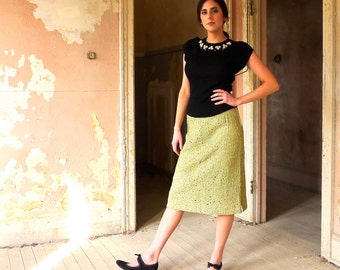 1940s Spring Green Ribbon Lace Skirt Size 6 *SALE*