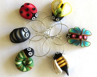 Bar Flies Wine Glass Charms, Humorous Art,Polymer Clay Bugs, Kitchen Accessory, Bug Barware