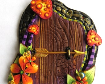 Orange Toadstool Garden Fairy Door