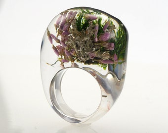 Moss And Heather Ring, Unique Clear Resin Ring with Natural Mixed Moss and Heather, Botanical Jewelry