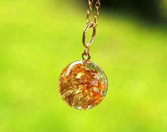 24K Gold Flakes Resin Pendant, Gold-Plated Sterlig Silver, Resin Jewellery