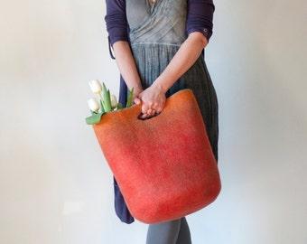 MEDIUM SIZED Poppy Orange Sturdy Everyday Art Bag / Carryall / Tote / Basket / Shopping / Market / Picnic / Hand felted wool / Wearable Art