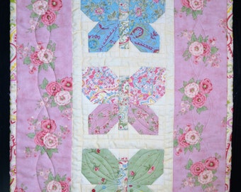 Handmade Quilted Mini Wall Hanging Butterfly Quilt Quilted Table Topper Quilted Table Runner Mini Quilt