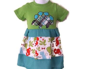 Girls Stegosaurus Dinosaur Dress, Handmade Dress, Size 3 Months, Baby Dress, Infant Dress by We Wear What We Want!