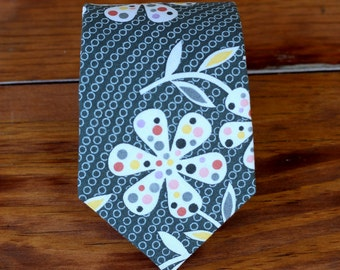 Mens Floral Cotton Necktie - flower neckties for men - gray black ties - wedding ties for man - groomsmen necktie - neckties for teen tie