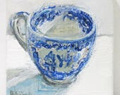 Reserved Blue Willow Teacup original mixed media still life painting by Polly Jones