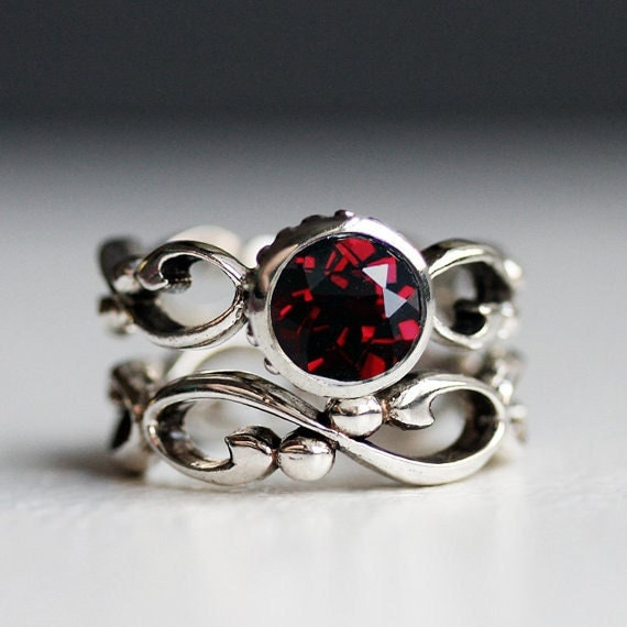 Garnet Engagement Ring Set Garnet Wedding Set Bezel By