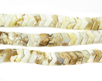 Opalite Jasper Chevron Beads (10X) (NS801)