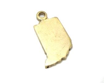 Blank - Tiny Raw Brass Indiana State Charms (6X) (A413-1)