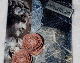 Handcrafted ATC Vintage Romantic Roses 1920s Artist Trading Card