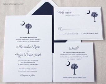 Palmetto Tree Wedding Invitations, South Carolina Flag Wedding Invitations, SC Palmetto Invites, Palmetto Crescent Moon Wedding Invitations