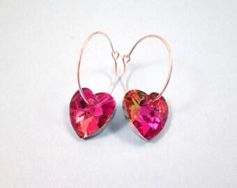 Crystal Heart Earrings, Pink Vitrail Colors, Silver Hoop Earrings, FREE Shipping U.S.