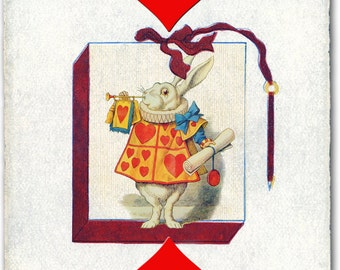 Alice in Wonderland or the White Rabbit on a Vintage Playing Card. Linen and Cotton Tea Towel. Practical and Classic