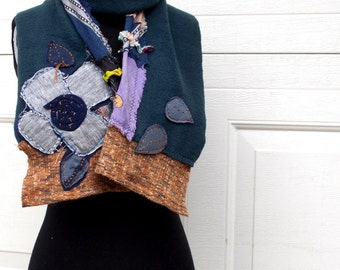 Patchwork Floral Scarf Ruffled Earthy Recycled