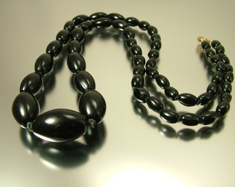 Vintage antique Art Deco/ estate,1930s long length flapper black glass bead costume necklace - jewellery jewelry