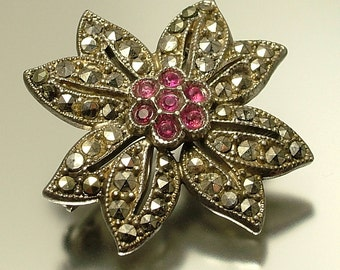 Vintage / estate 1950s chrome plated, red paste and marcasite, flower costume brooch pin - jewelry / jewellery