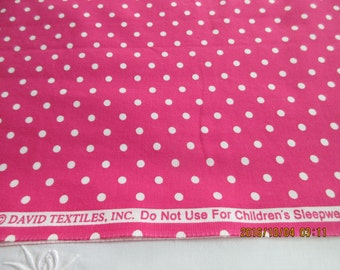 Bright Pink Dot Fabric by David Textiles