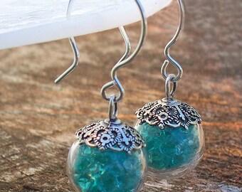 Recycled Vintage Mason Jar Sterling Silver and Glass Orb Earrings/Repurposed Mason Jar/Blue Mason Jar/Upcycled/Repurposed Jewelry/Bridesmaid