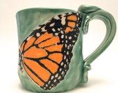Mug Monarch Butterfly Ceramic Stoneware Made to Order Wheel Thrown Handmade MG004