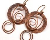 Rustic Copper Earrings E749