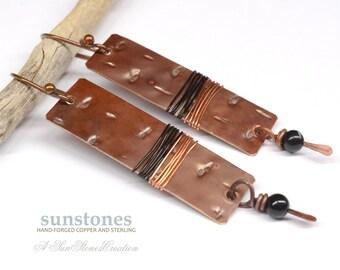Hammered Copper Earrings E892