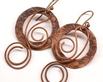 Rustic Copper Earrings E749