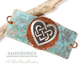 Hand Forged Bracelet Focal Component,  Mixed Metal, Bracelet Link, DIY Jewelry Making - Celtic Knot, Heart JC418