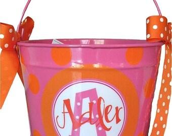 ON SALE Custom 10 Quart Bucket with Polka Dots