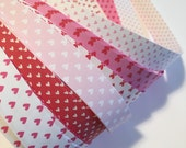 """Half price* 3/8"""" Weaving Star Paper~ Pink, Red Hearts (50 strips)"""