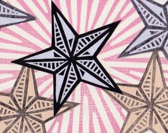 Mini Stars Stamp ACEO ATC Linocut Print Card Gift Stocking Stuffer