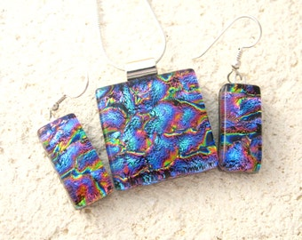 Petite Blue Pink Gold Necklace, Dichroic Fused Glass Jewelry,Necklace & Earring Set, Fused Glass Jewelry, Fused Glass Pendant, 052516ps102