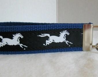 Horses Key Chain - Equestrian Key Chain - Horse Key Fob - Mustang Keychain - Stallion Key Fob -  Horse Lover Gift - BLUE