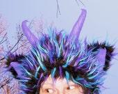 Fur Monster Horn Hat with Leg Furries Warmers Blue Black Purple Spike Mardi Gras Furry Horned Wild Thing Adult Geek Costume Hat
