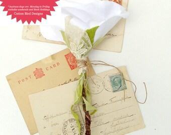 2nd Wedding Anniversary White Cotton Fabric Rose 2nd Wedding Anniversary Long Stem Flower - Made to Order