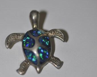 Cute Sterling Silver Opal Turtle Pendant