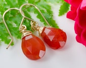 Carnelian Gemstone Briolette Drop Gold Earrings
