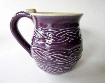 Braided Texture Mug - glazed in Plum - textured mug - hand built