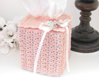 Cottage Chic Tissue Box Lace Cover, Peach Blossom Square Tissue Box Cover, Nursery Room Decor, Victorian, Vintage Inspired Home Decor
