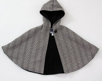 Black & White Wool Stripe Cape for Girls or Boys - Sizes Newborn to 9/10 - Warm Winter Children's Jacket, Winter Coat, Capelet, Poncho