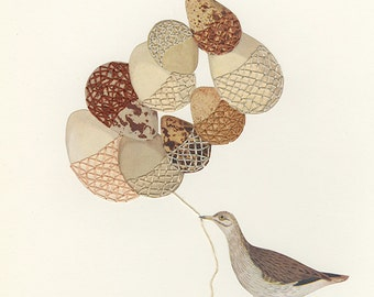 Egg warmers for a chilly spring. Original mixed media collage  by Vivienne Strauss.