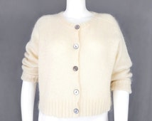 Vintage 80s GAP Fuzzy Ivory Women's Sweater - Size Large - Preppy Normcore Cream Button Up Knitted Cardigan