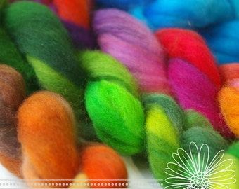 Felting Wool : Hand Dyed Merino for Needlefelting or Wet and Nuno Felting ('Nature's Jewels' Palette, 4 Variegated Roving)