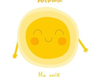 You Are My Sunshine Wall Art Print - Nursery Prints Baby Boy, Baby Girl - Baby Shower Gift - Kids Room Decor -Nursery Wall Art