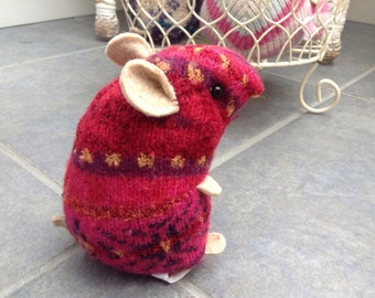 Red pattern plush hamster made from recycled jumper sweater