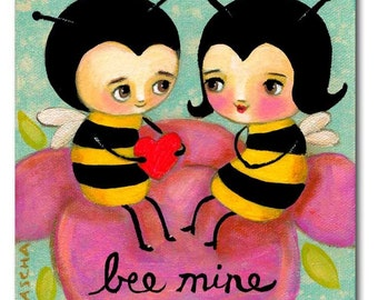 bumble bee folk art cute bees in love bee art original acrylic painting by canadian artist tascha