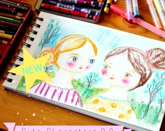 Painting WORKSHOP Cute Characters 3.0 water soluble crayon and pencil tutorial online art class by Tascha mixed media drawing class