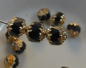 Cathedral Beads Czech Glass Fire Polish Black with Gold (Qty 8) 8mm SRB-8FPC-BLK-G